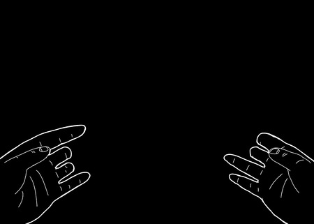 outstretched: Black background with copy space above disabled hands Illustration