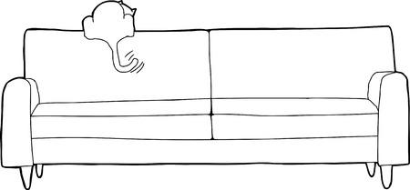 happy cat: R�ckansicht der gl�cklichen Katze auf Sofa Ruten
