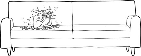itching: Outline cartoon of cat hair falling off of animal sitting on sofa