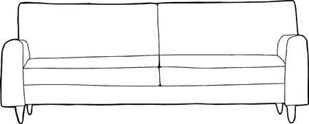 sketch out: Outline cartoon of single sofa over white background