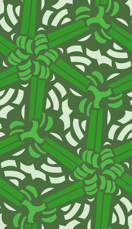 linked: Abstract seamless pattern of linked green lines and crescents