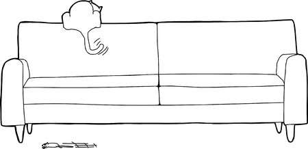 Outline of excited cat looking for speeding mouse