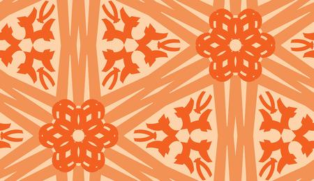 linked: Repeating orange kaleidoscope pattern of linked lines