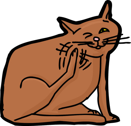 hand on chin: Cartoon of domestic cat scratching himself over white