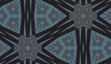 Repeating kaleidoscope pattern of linked blue and black lines