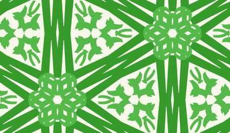 linked: Repeating floral kaleidoscope pattern of linked green lines