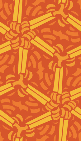 Abstract seamless pattern of connected orange lines and crescents Иллюстрация