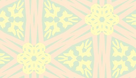 linked: Floral kaleidoscope pattern of pink and yellow linked lines Illustration