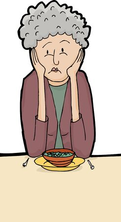 apologetic: Hand drawn illustration of lonely woman having dinner