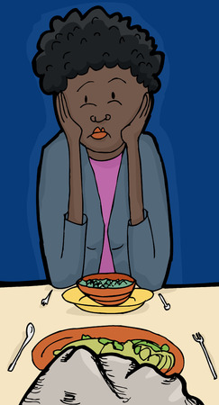 miserable: Illustration of pouting female having dinner with a rock