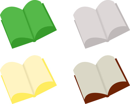 literate: Abstract open books in various colors over white Illustration