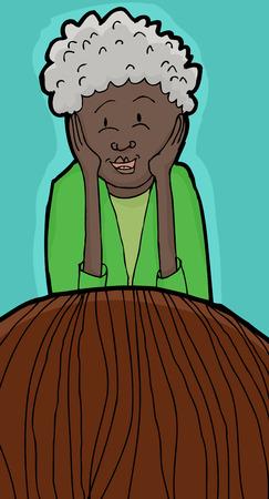 Laughing lady with hands on cheeks listening to friend Illustration