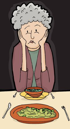 miserable: Cartoon senior female with sad face at dinner with friend