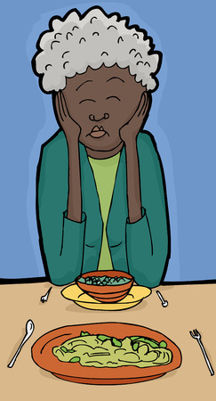 blind woman: Cartoon illustration of mature woman asleep during lunch Illustration