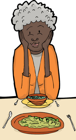 middle aged woman: Cartoon of senior woman eating with meal and elbows on table