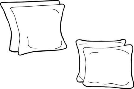 Set of hand drawn outline cartoons of cushions Banco de Imagens - 40833590