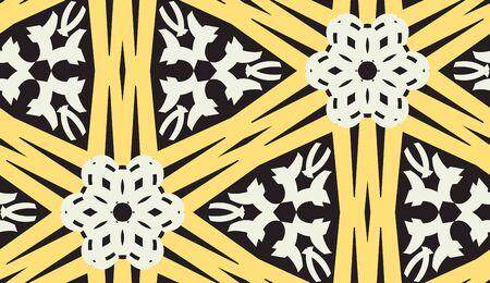 Repeating yellow kaleidoscope pattern over black background Иллюстрация