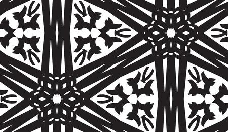 linked: Repeating kaleidoscope pattern of linked black lines Illustration