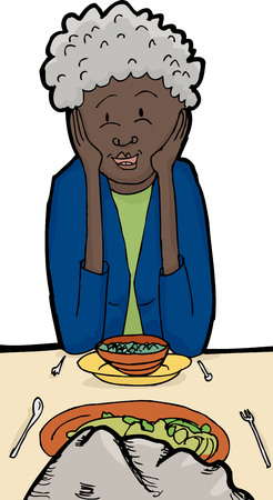 middle aged woman: Cartoon of smiling female adult talking to a rock during dinner Illustration