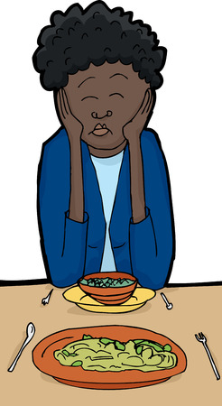 rude: Point of view illustration of sleeping woman at dinner table Illustration