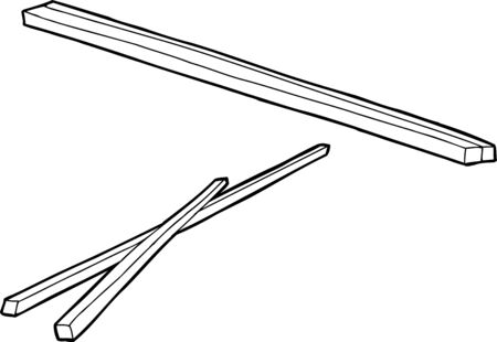 eating utensil: Hand drawn outlines of traditional wooden chopsticks Illustration