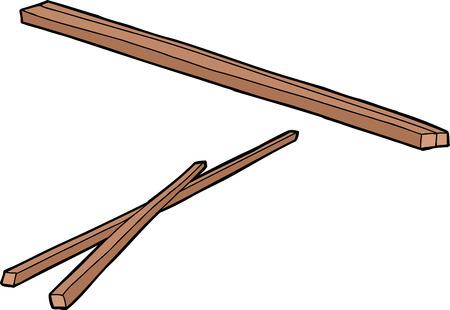 eating utensil: Hand drawn cartoon of traditional wooden chopsticks