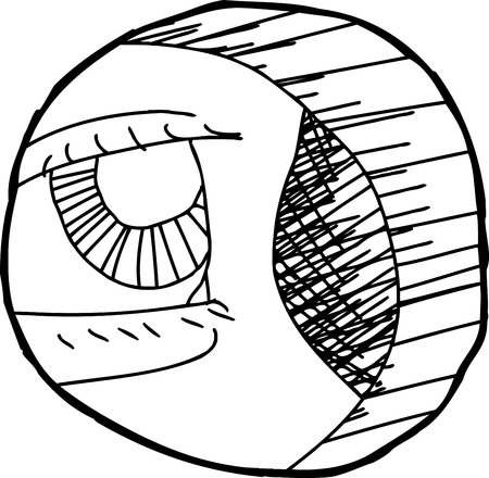 hole in one: Hand drawn outline cartoon of eye close up in hole