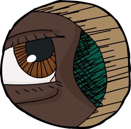 eye hole: Cartoon close up of eye looking through hole Illustration