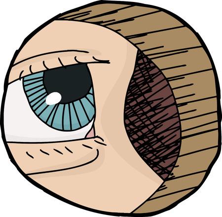 Hand drawn cartoon avatar of eye in hole