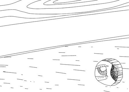 dessin au trait: Sch�ma indicatif de l'?il en regardant par le trou dans le panneau de bois Illustration