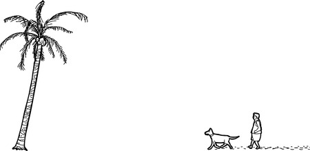 adult footprint: Outline cartoon of isolated man, dog and palm tree Illustration