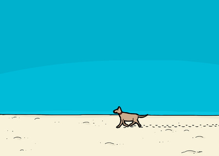stray: Cartoon dog walking on sand under blue sky