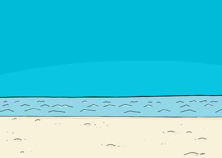 shoreline: Blue sky over lake and shoreline cartoon background Illustration