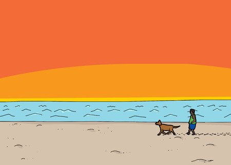 beach sunset: Cartoon scene of man walking dog on beach at sunset