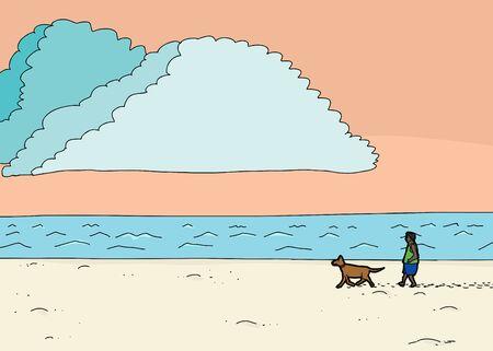 adult footprint: Cartoon illustration of Hispanic man walking dog at beach