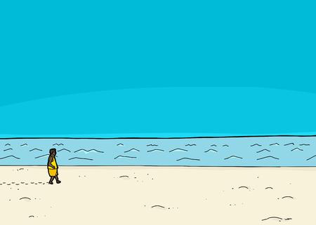 seashore: Single Black man walking along ocean waterfront Illustration