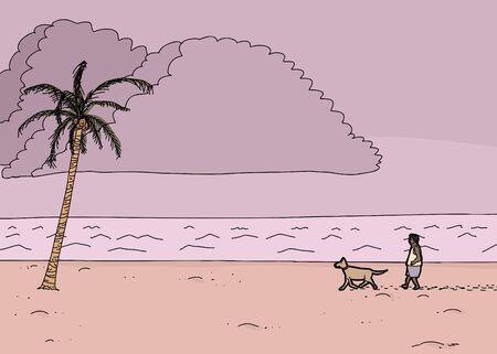 Cartoon tropical ocean monsoon scene with man and dog