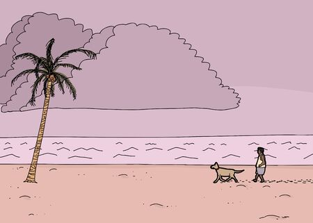 Cartoon tropical ocean monsoon scene with man and dog