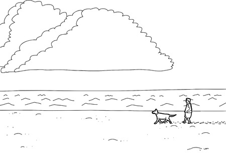 footprint sand: Cartoon outline of man walking dog along ocean beach