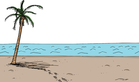 cartoon palm tree: Cartoon scene of footsteps near coconut palm tree