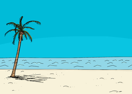waterfront: Empty waterfront scene with coconut palm tree Illustration