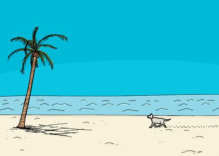 Dog walking on sand in tropical cartoon ocean beach scene