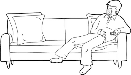 sleeping man: Cartoon outline illustration of sleeping man holding TV remote