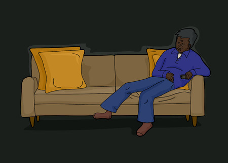 loveseat: Tired man laying down on sofa with remove control