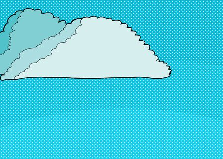 clouds: Cartoon cumulonimbus clouds background over halftone dots