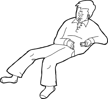 adult male: Outline cartoon of isolated adult male holding remote control