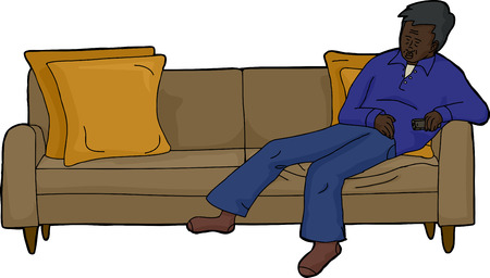 loveseat: Sleeping adult male in blue with remote control on couch Illustration