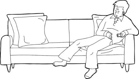 tv remote: Outline cartoon of single man with TV remote on sofa