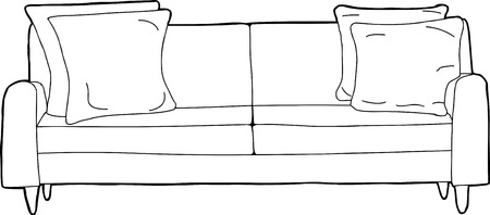 cushions: Cartoon outline of single love seat sofa with corner cushions Illustration
