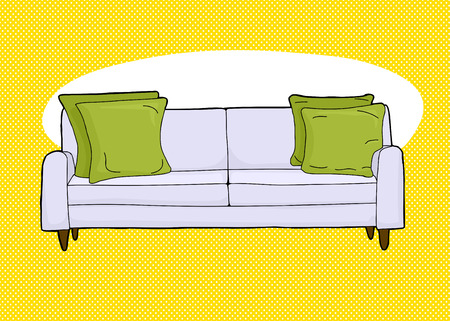 love seat: Cartoon of single love seat sofa with corner cushions